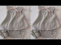 Girls Knitted Dress, Knit Baby Dress, Crochet Toddler, Crochet Baby, Knit Crochet, Crochet Flower Patterns, Baby Knitting Patterns, Knitting Videos, Crochet Clothes
