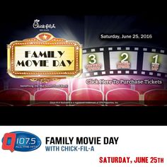 Chick-Fil-A Family Movie Day!! Benefiting The Mid-South Food Bank on Saturday June 25th.  More Info at http://Q1075.com