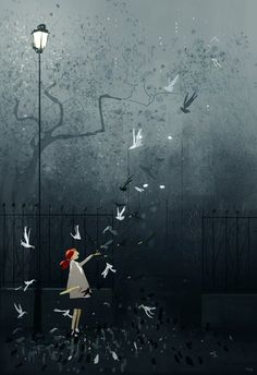 My favorite type of mornings. #pascalcampionart -Wet, foggy, cold....makes me all warm inside B.j