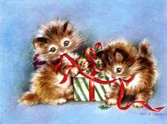Vintage Kitten Christmas Card