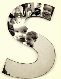 Billiges Vatertagsgeschenk pêle mêle photos à faire soi-même - un monogramme décoré de photos d& Diy Photo, Photo Craft, Photo Ideas, Pele Mele Photo, Diy And Crafts, Crafts For Kids, Diy Buttons, Decorating With Pictures, Button Crafts