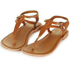 TopShop Harbour Toe Post Sandals ($26) ❤ liked on Polyvore featuring shoes, sandals, tan flats, leather thong sandals, toe thongs, leather flats and tan leather sandals