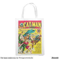 Cat-man comics no.1 reusable grocery bag #vintagecomicbooks #catman #geek #comics #dccomics #marvel #avengers