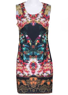 Black Sleeveless Floral Birds Print Dress - Sheinside.com