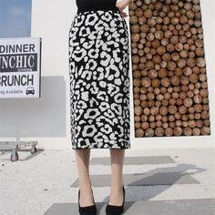 Slim-Fit Leopard Elastic Waist Skirt – streetstyletrends   skirts in fall casual summer skirt how to style skirts #skirtoutfitsummer#springskirtoutfits#fashionskirt