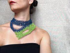 Paper yarn necklace, yarn jewelry, green, blue jewelry, crochet necklace, collar necklace