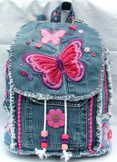 Girl's butterfly denim patchwork backpack by poppypatchwork