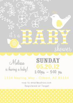 PARTY PRINTABLE   Bird Nest Modern Baby by PetitePartyStudio, $15.00 #baby #shower #invites
