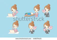 cartoon business woman using computer and piggy bank