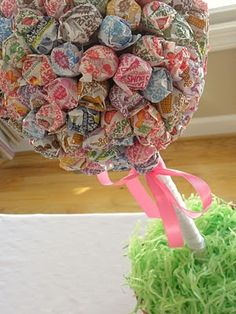 "Dum dum topiary :D Cheaper and sweeter than flowers! @Fleurish Girl It is not too late to try this for your wedding this weekend.  Then Al and I could have a snack while we work.  We are known to ""Sample"" the work."