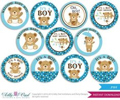 Items similar to Boy Teddy Bear Cupcake Toppers for Baby Shower Printable DIY, favor tags, circles, It's a Boy, Polka - ONLY digital file - on Etsy Cupcakes Baby Shower Niño, Distintivos Baby Shower, Teddy Bear Baby Shower, Baby Shower Favors, Baby Shower Parties, Baby Shower Themes, Dibujos Baby Shower, Imprimibles Baby Shower, Teddy Bear Cupcakes