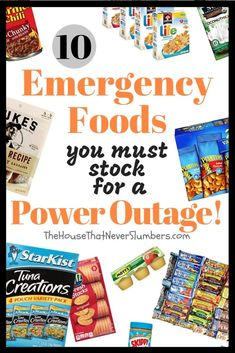 10 Emergency Foods You Must Stock for a Power Outage Situation - Be prepared for hurricanes tornadoes flooding ice storms blizzards or earthquakes. Emergency Preparedness Food, Emergency Food Supply, Emergency Preparation, Emergency Supplies, Survival Prepping, Survival Skills, Survival Supplies, Emergency Kits, Survival Gear