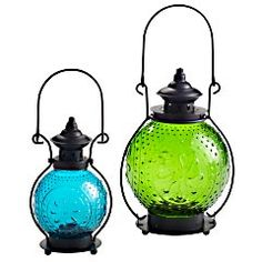 Sunburst Lanterns Blue: x x Green : x x Mouth-blown glass, rust-resistant iron Exclusively Pier 1 Imports Sold Separately. List, Blue Lantern, Green Lanterns, Outdoor Lighting, Outdoor Decor, Backyard Lighting, Outdoor Furniture, Deck, Candle Lanterns