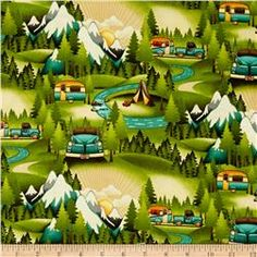 Outdoor Adventure Camping Scenic Multi - another in the same series or by the same designer. Hmm. What can I make with these two fabrics?