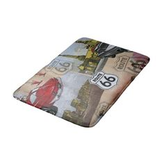 Fun Colorful Route 66 Collage Pattern Bath Mat - stylish gifts unique cool diy customize