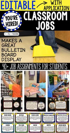 Classroom Jobs for the Classroom - completely editable! These jobs are super fun to use in the classroom, not to mention – very helpful! They give students ownership of the classroom with special duties they can help with all year long.