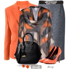 Orange And Grey by sherryvl on Polyvore featuring мода, Armani Collezioni, Michael Kors, Yves Saint Laurent, Burberry, Monsoon and Bling Jewelry