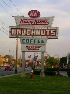 Krispy Kreme sign in High Point, NC.