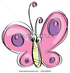 Cute pink and purple butterfly flying in a naif kids drawings style with black…