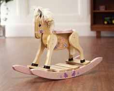 painted wooden hors | Amish Hand Painted Wooden Rocking Horse