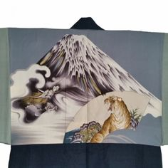 lining of a mens silk haori with mount Fujisan and a tiger