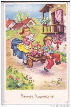 Anniversaire  Couple D´ ENFANTS Charette Fleurs Agneau