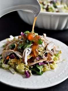 Thai Crunch Chicken Salad: boneless chicken + salt + pepper + sweet chili sauce + rice vinegar + coconut milk + brown sugar + garlic + peanut butter + ginger + limes + soy sauce