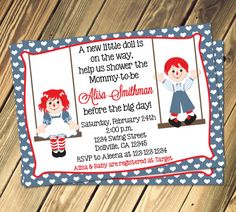 Raggedy Ann & Andy Baby Shower Invitation Print Your Own on Etsy, $8.00