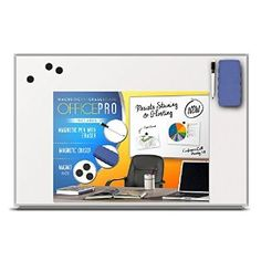 Slimline Magnetic Whiteboard & Accessories *Lifetime Replacement Guarantee*, Lightweight, High-Clarity, Scratch-Resistant Dry Erase Board (Includes Pen & Tray, 3 Whiteboard Magnets & Eraser) : Office Products