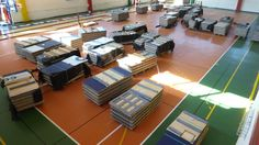 """The """"assembled""""#sports floor stored waiting to be reprocessed"""
