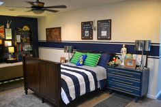 Love the Tardis Blue accent wall and stripe.