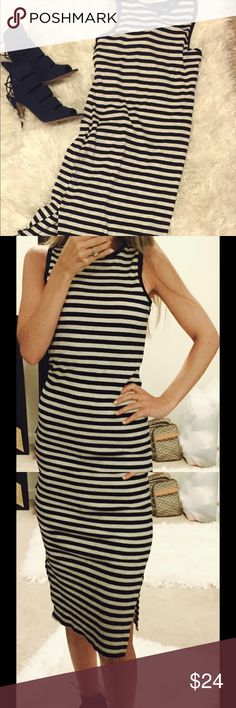 Adorable new casual mid-length dress! Size small, navy blue and gray stripped dress! You can wear this anywhere and feel comfortable! New with tags! Dresses Midi