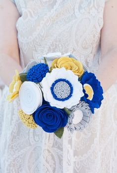 Felt Bridal Bouquet  Wedding Bouquet  by SugarSnapBoutique on Etsy, $95.00