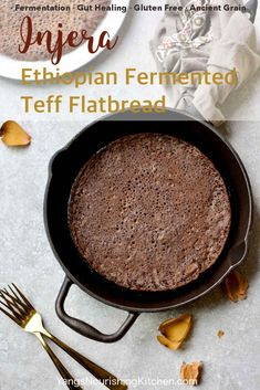 #sourdough #injera #fermentation #teff Injera is a fermented teff sourdough flatbread traditionally made in Ethiopia. Teff is mineral and protein rich, an ancient grain that's naturally gluten free; fermentation further increases the nutrition of teff. Injera makesa healthy alternative to wheat flour crepes.