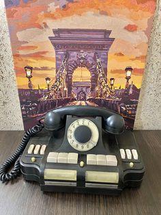 Vintage black phone 1969s,USSR bakelite Direktor rotary desk telephone,Old rare soviet telephone,Soviet phone,Old rotary phone,Rare phone Retro Phone, Vintage Phones, Fur Accessories, Rotary, Telephone, Landline Phone, Vintage Black, Desk, Desktop