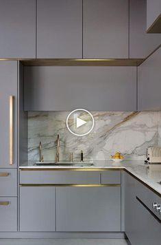 Govotsis: A matt lacquer kitchen with brass cladding from Roundhouse Design – idees de cuisine Minimal Kitchen Design, Kitchen Lighting Design, Luxury Kitchen Design, Contemporary Kitchen Design, Interior Design Kitchen, Gold Furniture, Kitchen Furniture, Furniture Hardware, Furniture Outlet