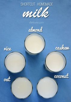 Shortcut Homemade Milk (Almond, Coconut, Cashew, Oat, Rice) - great non-dairy milk substitute when you have no time for presoaking nuts or grains - #plantbased #diet