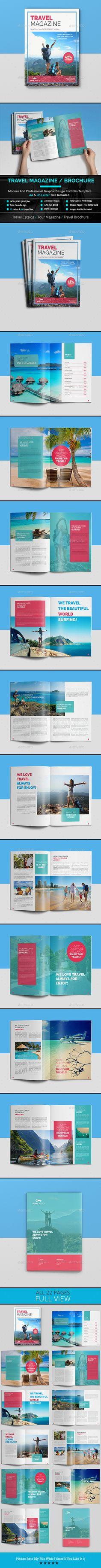 Travel Magazine / Cataloge Template PSD - 22 Unique Pages, A4 & US Letter Size