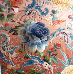 chinese embroidery. Flower. Fabric. Color.