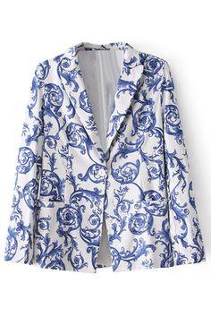 ROMWE | Blue-white Porcelain Print Blue Blazer, The Latest Street Fashion