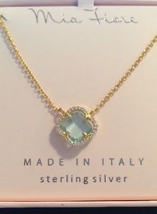 Mia Fiore Italy Rose Gold Topaz Crystal Encrusted Clover Necklace