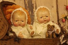 """Sweet 1817"""" Composition, Cloth Twin Horsman Baby Dolls"""