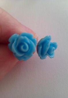 Tiny Bright Blue Rose Earrings