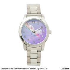 Unicorn and Rainbow Unisex Oversized Bracelet Watch. Color: black, gold, silver or two-ton