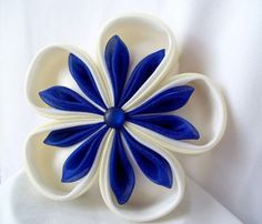 Free Kanzashi Flower Tutorial | Kanzashi Headpiece Fabric Flower Fascinator by ScarlettandMaria, $32 ...