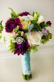 bridal bouquet... adding in the teal color from invitation here on ribbon