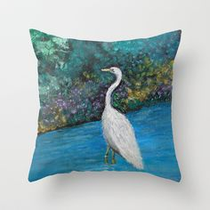 Great White Egret Throw Pillow by Rokin Art by RokinRonda - $20.00 @Society6 @home decor