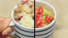 Breakfast is not the time for complicated meals. So BuzzFeed assembled three easy, delicious early morning dishes that can be made in a mug with a few simple ingredients. All you need is your favorite cup or mug, a fork, and a microwave. Make a blueberry muffin by mixing small quantities of a basic muffin