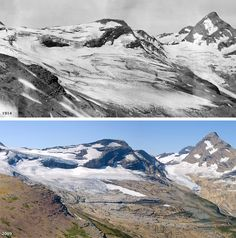 Photographs of the Blackfoot and Jackson Glaciers in 1911 and 2009.