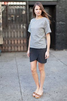 Drop Sleeve Shirt - Ocean Grey Stripe / Portia Skirt - Slate / Italian Slapper - Caramello